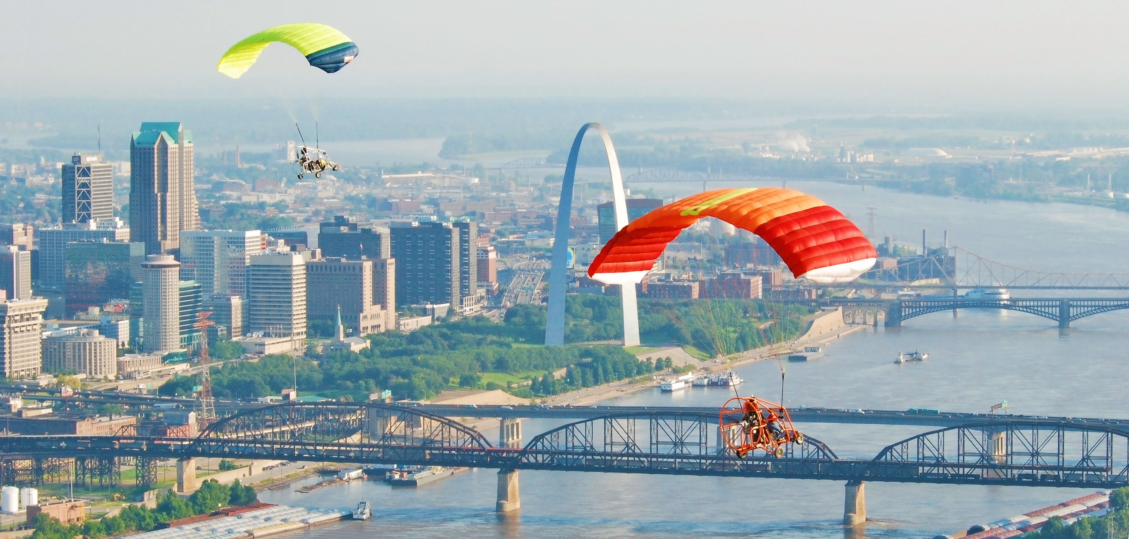 Powered Parachutes Flying by the St. Louis Gateway Arch