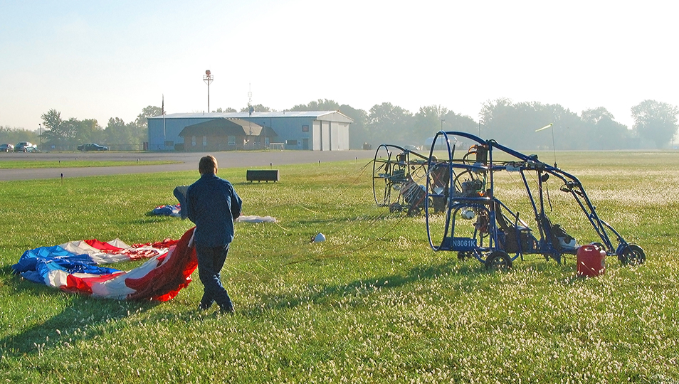 Laying Out Parachutes in Preparation for a Training Flight